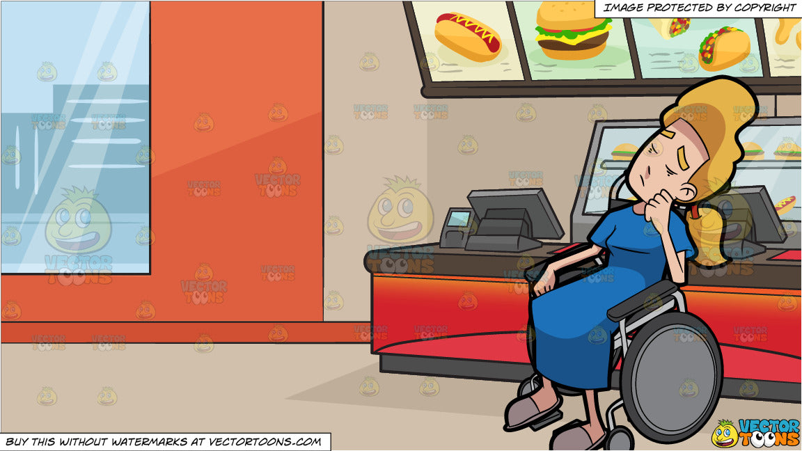 A Female Patient Snoozing In Her Wheelchair and Inside A Fast Food  Restaurant Background