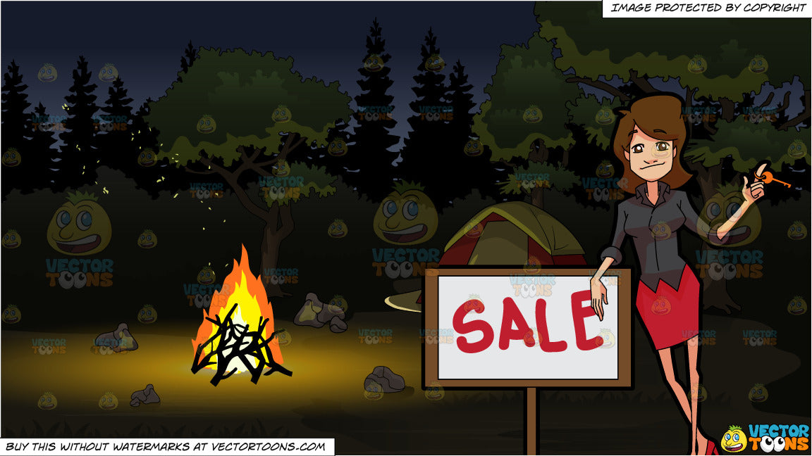 A Female Real Estate Broker Closing A Sale Deal Of A Property and A  Campground At Night Background