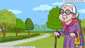 A Female Senior Citizen Enjoying A Stroll and A Pretty Park With Walking Path Background