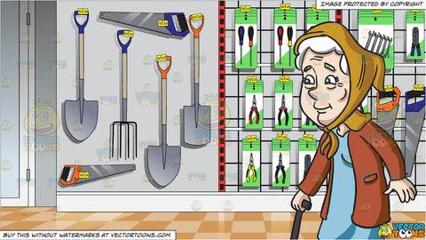 A Female Senior Citizen Looking Contented While Walking and Aisle Rack Of A Hardware Shop Selling Tools