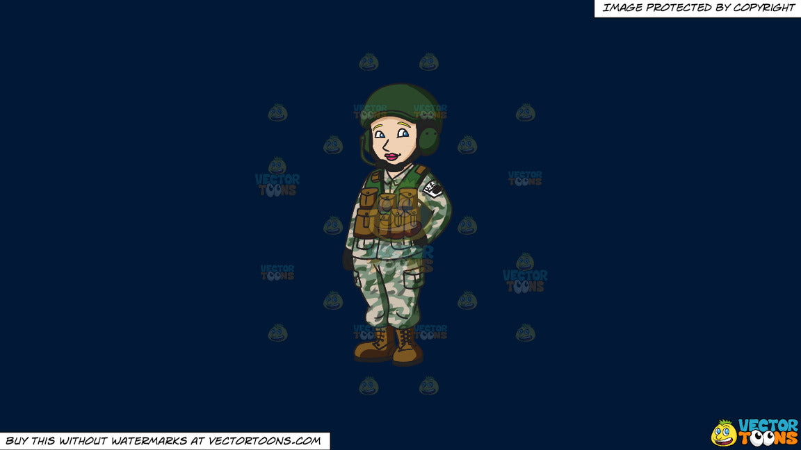 Clipart: A Female Tank Operator on a Solid Dark Blue 011936 Background