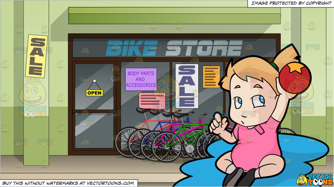 A Female Toddler Raising Up A Ball and Exterior Of A Bike Shop Background