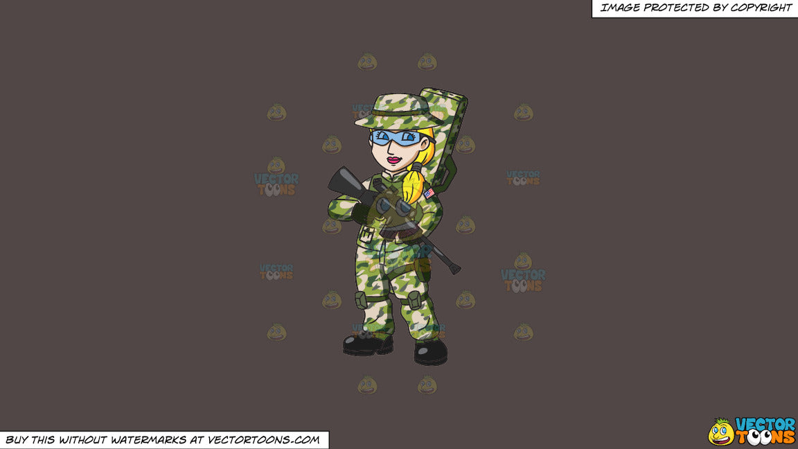 Clipart: A Female Us Army Sniper on a Solid Quartz 504746 Background