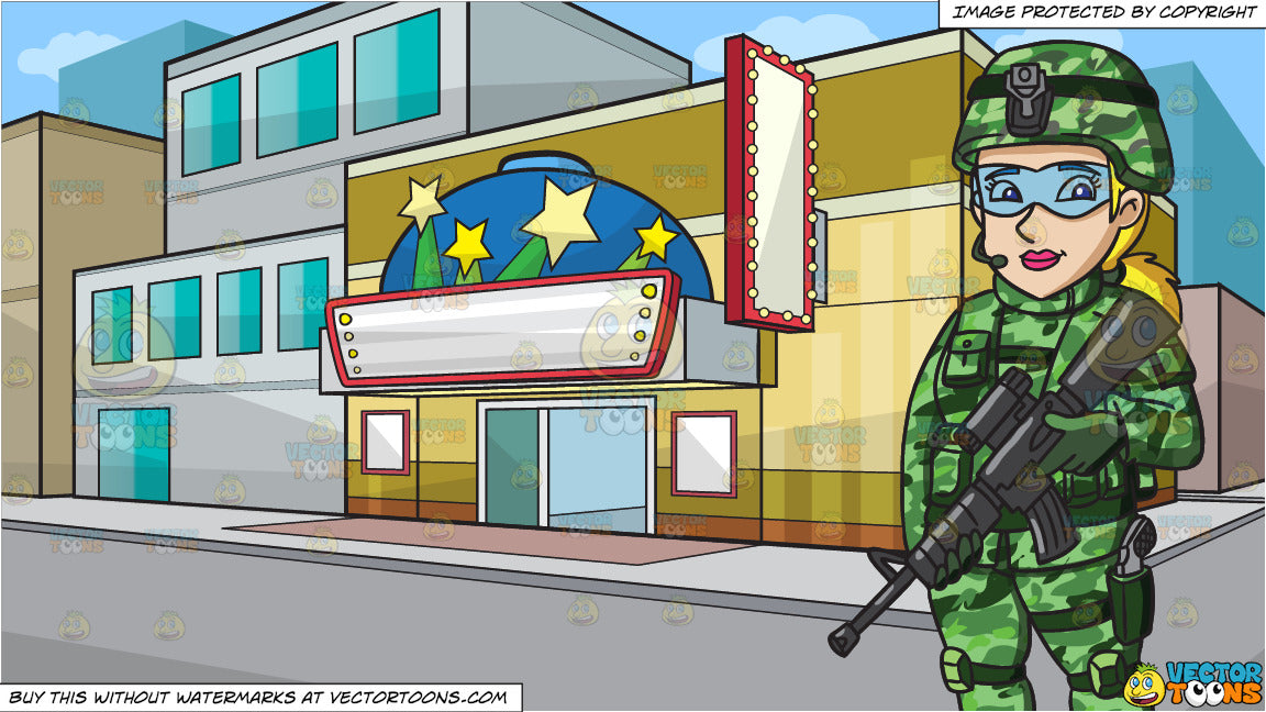 A Female Us Special Forces Soldier and A Small Town Movie Theater Background