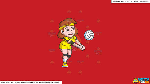 Cartoon clipart: a female volleyball player enjoying a game on a solid fire engine red c81d25 background
