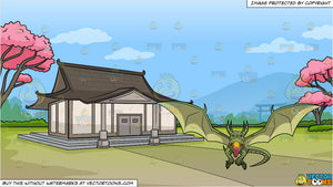 A Fire Breathing Green Dragon and A Traditional Japanese House Background