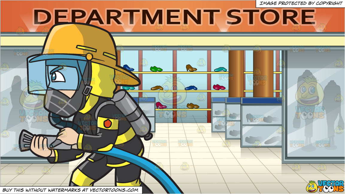 A Firefighter Charges To Put Out A Fire and Shoe Section In A Department  Store Background