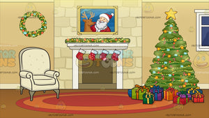 A Fireplace Beside A Christmas Tree Background