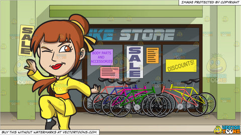 A Flirty Woman Practicing Her Kung Fu Stance and Exterior Of A Bike Shop Background
