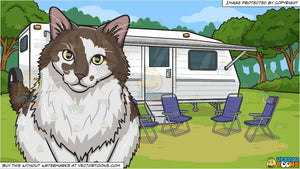A Fluffy Brown And White Cat and A Camper Parked In A Serene Campsite Background