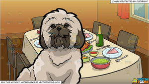 A Fluffy Shih Tzu Dog and A Table Set For Thanksgiving Background