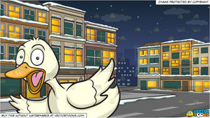 A Fluttered Duck and A Street During A Wintery Night Background
