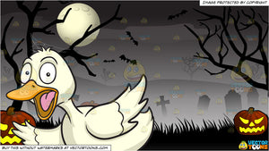 A Fluttered Duck and Spooky Graveyard Halloween Background