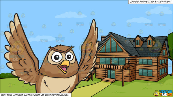 A flying and chatty owl and A Countryside Log House Background
