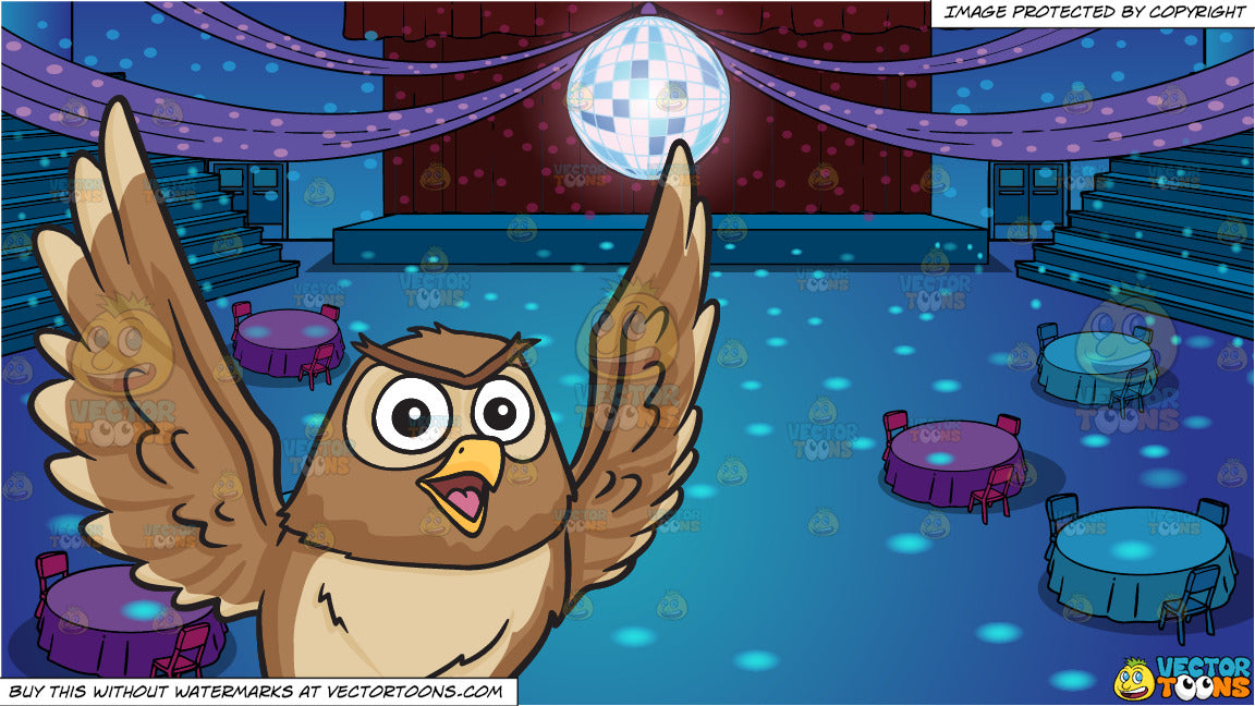 693593914bb A flying and chatty owl and A School Gym Set Up For Prom Background ...