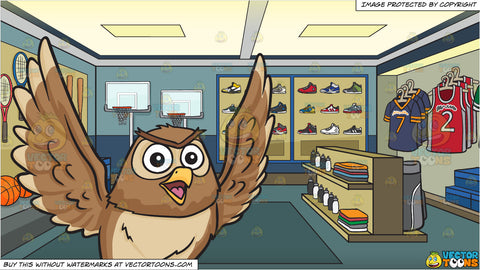 A flying and chatty owl and A Sporting Goods Shop Background