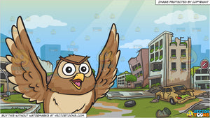 A flying and chatty owl and An Abandoned City Background