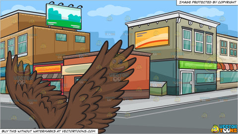 A flying bald eagle and A City Street Corner Background