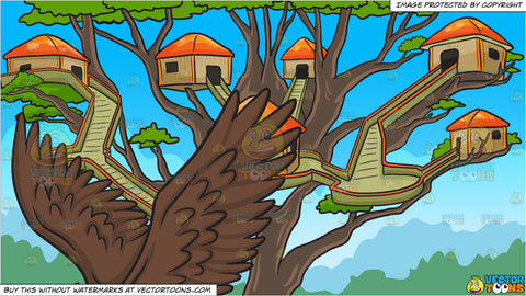 A flying bald eagle and A Tree House Village Background