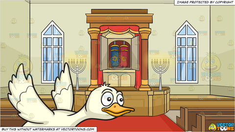A Flying Duck and Inside A Synagogue Background