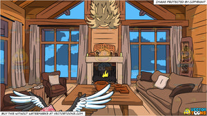A Flying Vulture and Wood Cabin Living Room Background