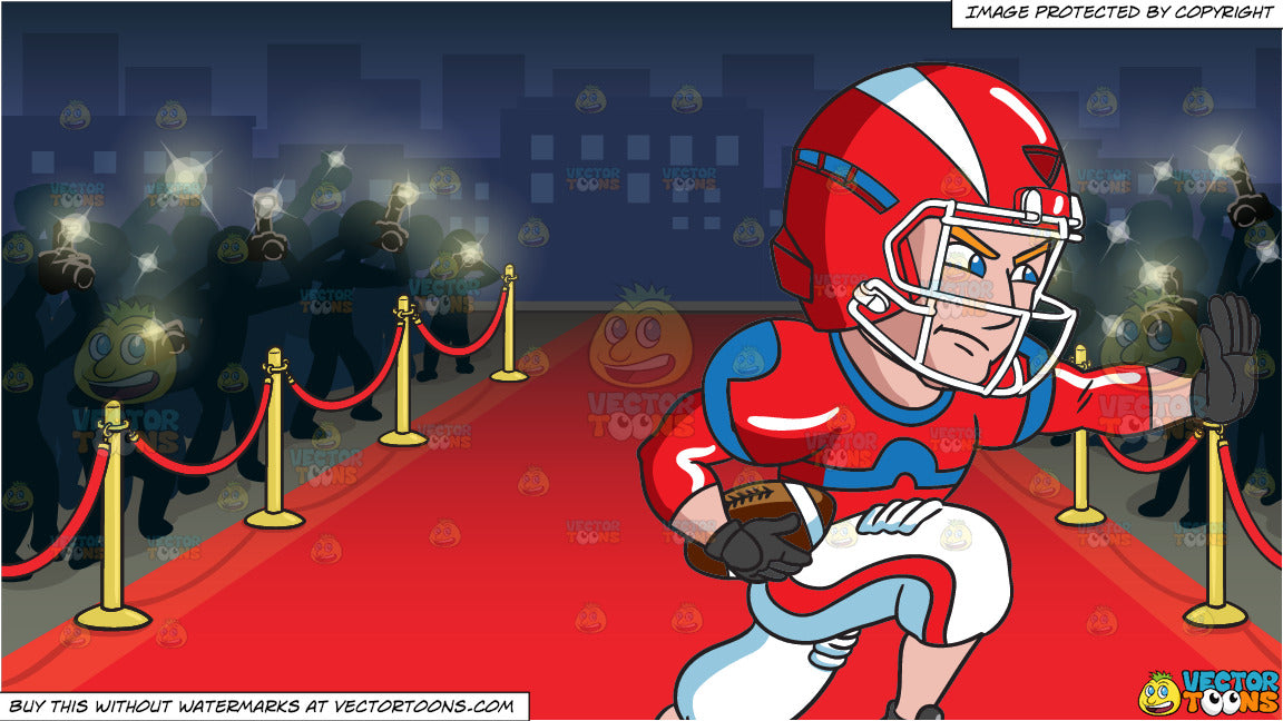 A Football Player Charges Ahead While Blocking An Opponent And Red Car Clipart Cartoons By Vectortoons