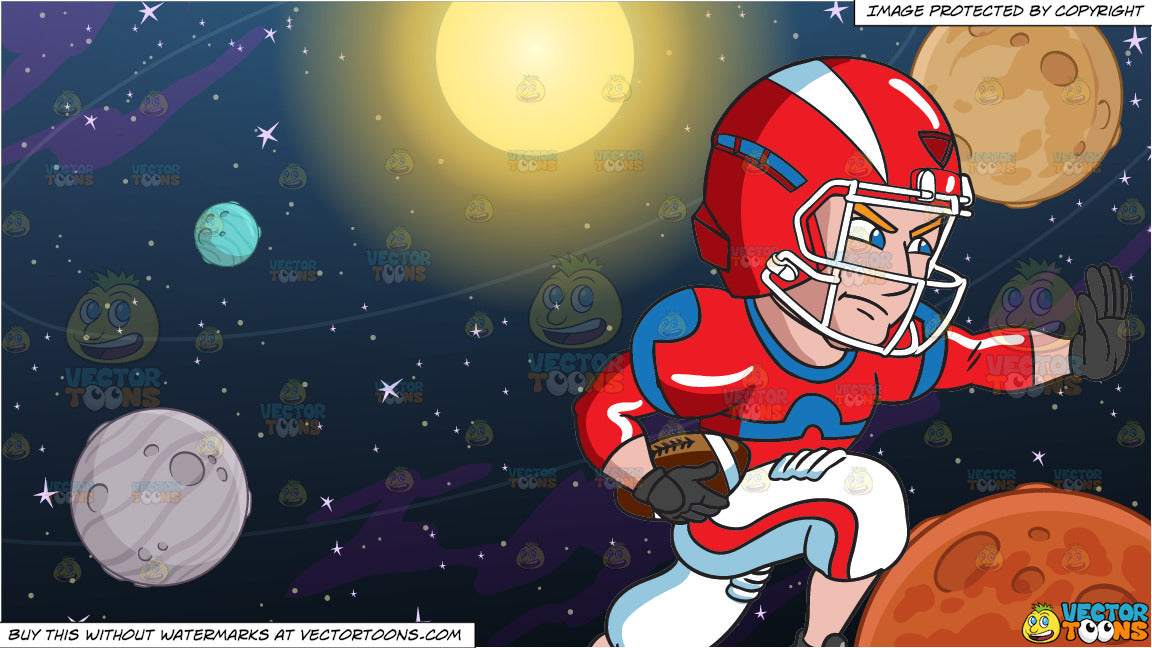 A Football Player Charges Ahead While Blocking An Opponent And Solar S Clipart Cartoons By Vectortoons