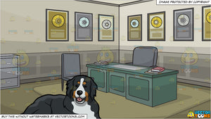 A Friendly Bernese Mountain Dog And Office Of An Award Winning Record Producer Background
