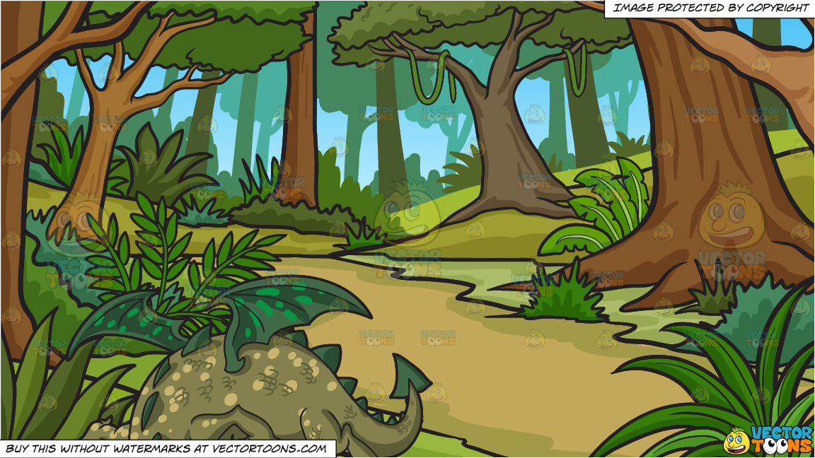 A Friendly Dragon and A Lush Jungle Background