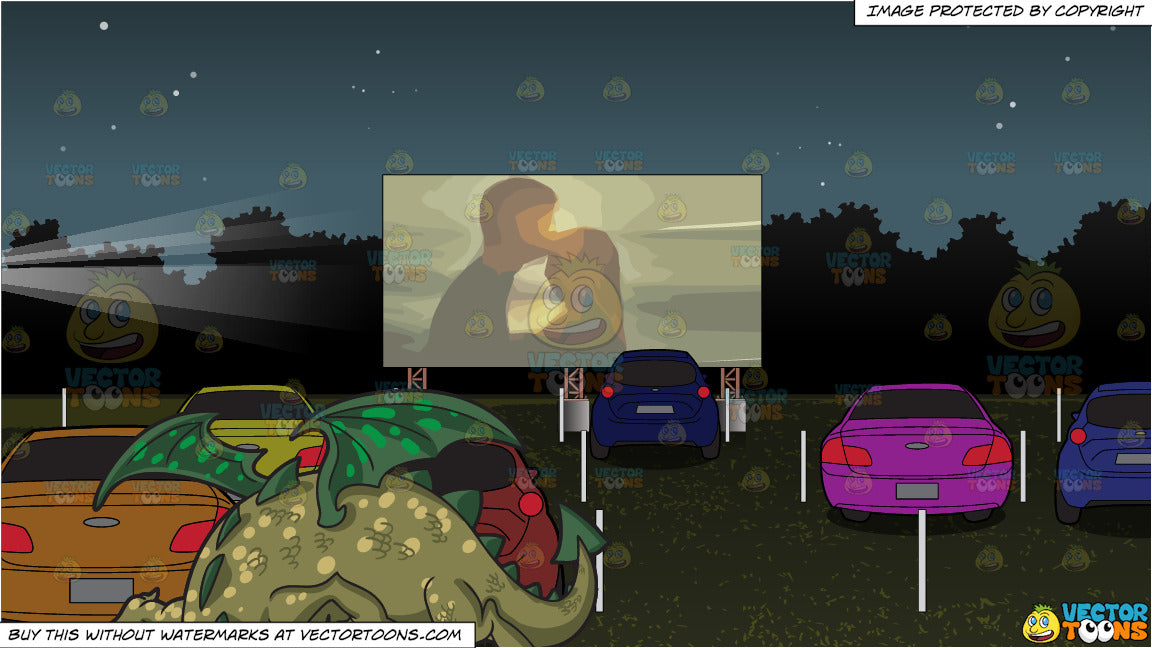 A Friendly Dragon And Drive In Movie Theater Background Clipart Cartoons By Vectortoons