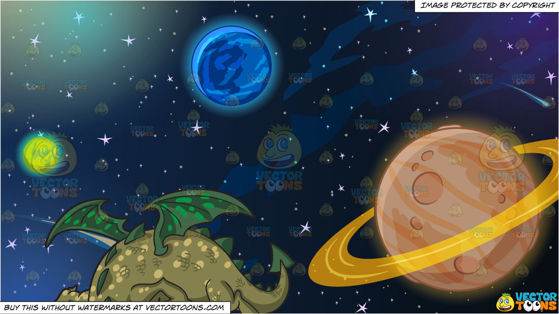 A Friendly Dragon and Planets In Outer Space Background