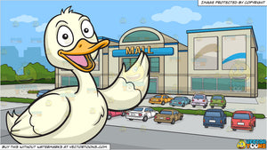 A Friendly Duck and A Facade Of A Small Mall Background
