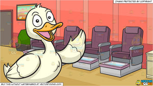 A Friendly Duck and A Row Of Pedicure Chairs Background