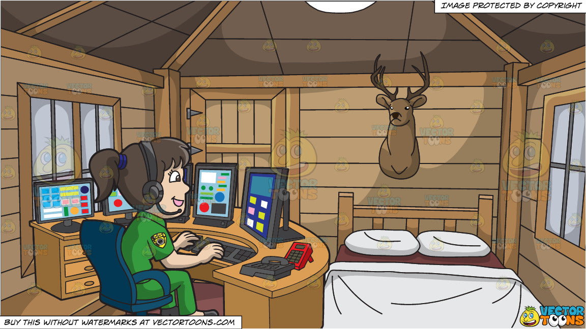 A Friendly Female 911 Dispatcher and A Hunting Lodge In The Woods Background