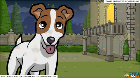 A Friendly Jack Russell Terrier Puppy Standing On All Fours and Balcony Of A Castle Background