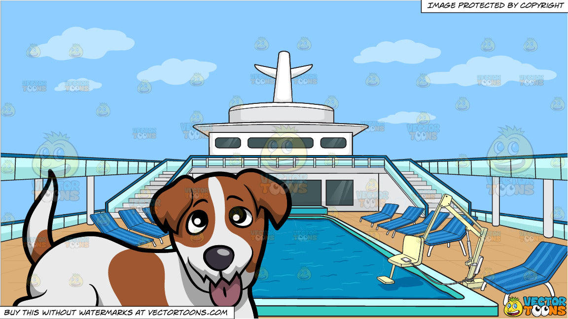 A Friendly Jack Russell Terrier Puppy Sticking Its Tongue Out and An Empty  Cruise Ship Pool Deck Background