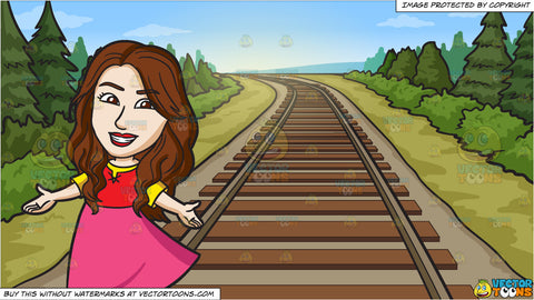 A Friendly Lady Wearing A Pretty Dress and Country Railway Tracks Background