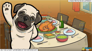 A Friendly Pug Waving His Paw and A Table Set For Thanksgiving Background