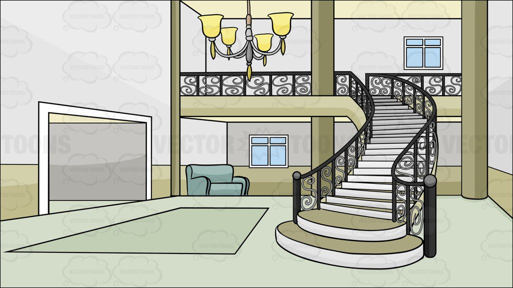 A Front Foyer And Grand Staircase Background