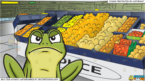 A Frowning Frog and The Produce Section Of A Grocery Store Background