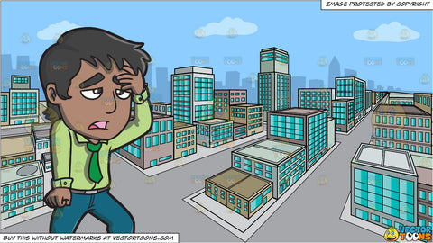 A Frustrated And Defeated Man Wiping His Forehead and A City During A Lovely Day Background