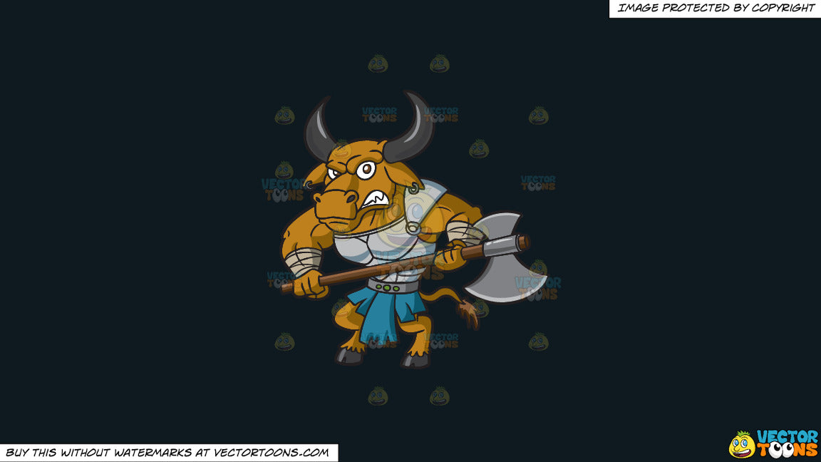 Cartoon clipart: a furious minotaur warrior guard on a solid off black 0f1a20 background