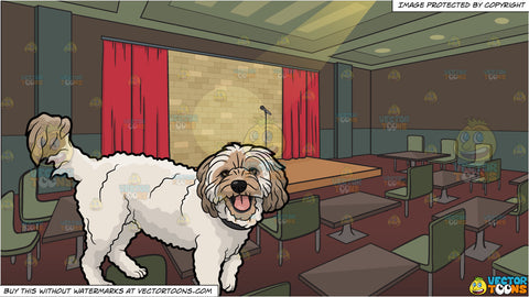 A Furry House Dog and A Comedy Club Background