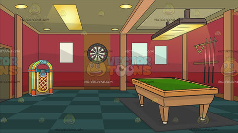 A Game Room With Pool Table And Juke Box Background