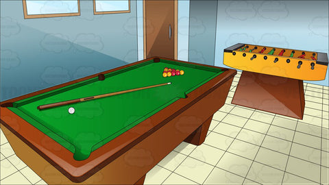 A Gaming Room With Pool Table And Foosball
