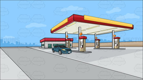 A Gas Station On The Outskirts Of Town Background