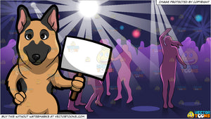 A German Shepherd Holding A Sign Board and Inside A Lively Night Club