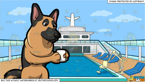 A German Shepherd Sipping A Warm Cup Of Coffee and An Empty Cruise Ship Pool Deck Background