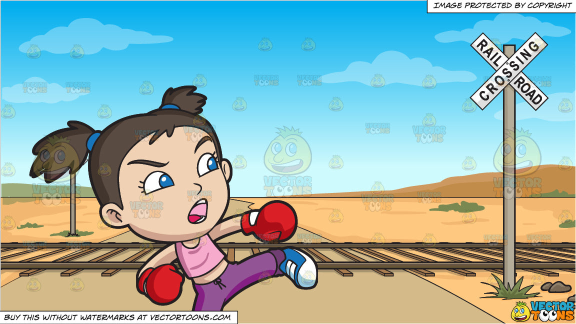 A Girl During A Kickboxing Training and Railroad Crossing Background