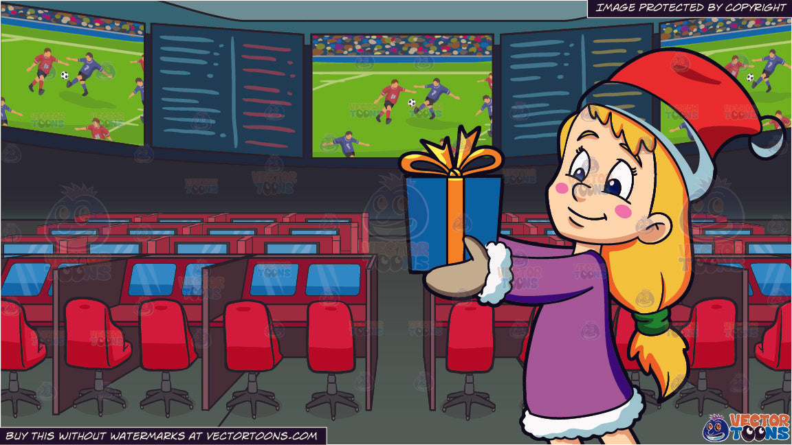 Christmas Sports Background.A Girl Giving Her Christmas Gift And Sports Book Background
